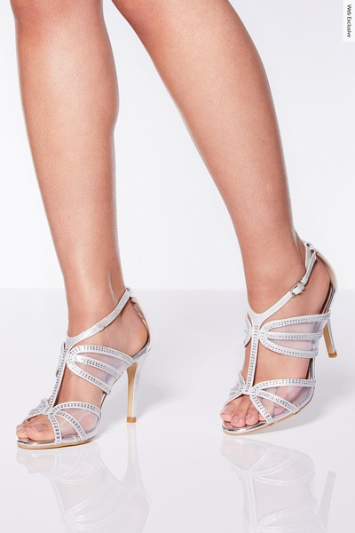 Silver Shimmer Strappy Heel Sandals